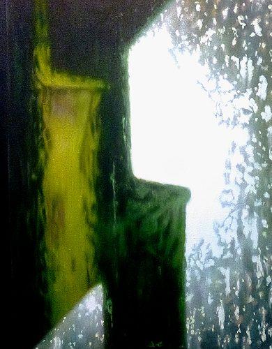 Half acht, lente. Acryl op katoen 70 bij 55cm 2014