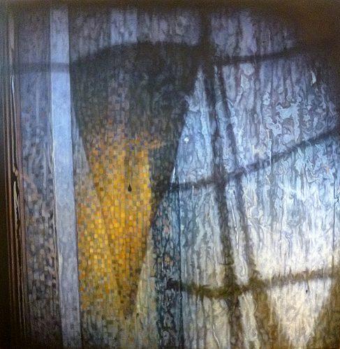 Vlag, half vier. Acryl op katoen, 130 bij 130cm 2014