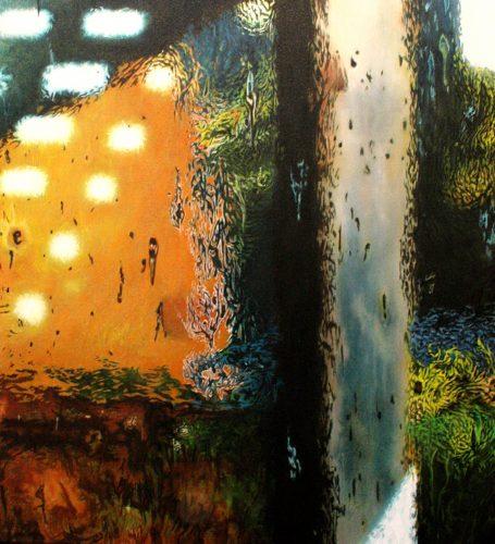 fragment van een moment. Acryl op linnen 65 bij 60cm 2016