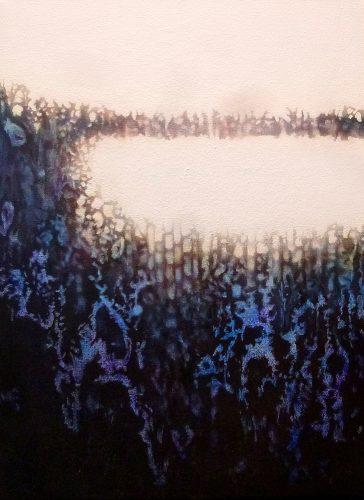 laatste zon, vijf uur. Acryl op katoen 40 bij 30cm 2014