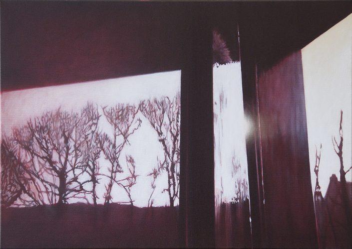 Raam atelier no. 5. Acryl op katoen 50 bij 70cm 2011