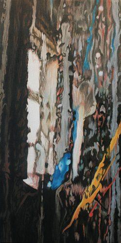 Doku; Atelier. Olie op katoen . 60 bij 30 cm. 2018