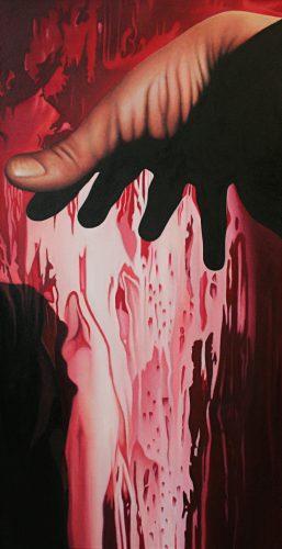 Doku; Hand. Olie op katoen. 120 bij 60 cm. 2019