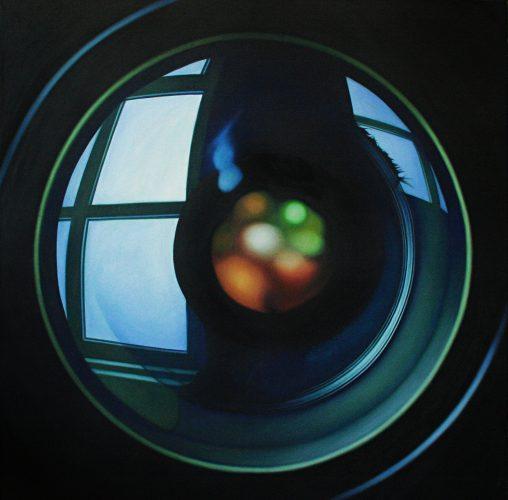 Doku; Lens. Olie op katoen. 135 bij 135 cm. 2019
